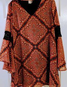 Paper Crane Black and Orange Retro Style Dress